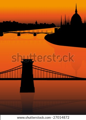 Budapest city view at sunset - stock vector