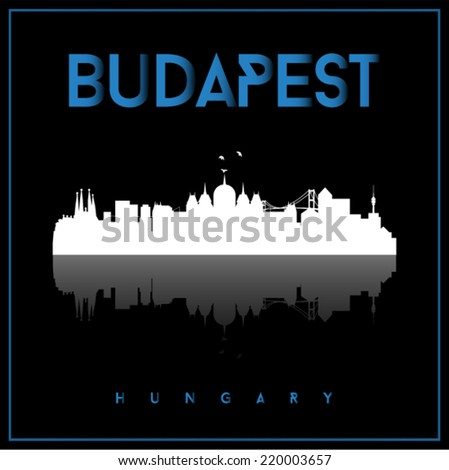 Budapest, Hungary skyline silhouette vector design on parliament blue and black background. - stock vector