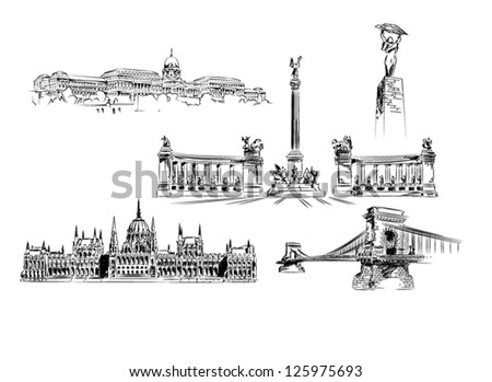 Budapest vector lineart - illustration package of important landmarks of Budapest - stock vector