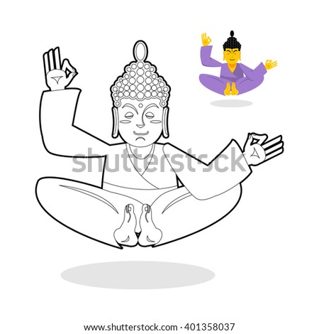 Buddha coloring book. Indian god meditating on white background. Status of nirvana and enlightenment. People sitting in lotus pose  - stock vector