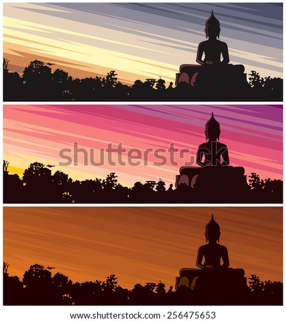 Buddha Dusk: Buddha statue in jungle at dusk. 3 color versions. No transparency and gradients used.  - stock vector