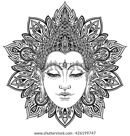 Buddha face over ornate mandala round pattern. Esoteric vintage vector illustration. Indian, Buddhism, spiritual art. Hippie tattoo, spirituality, Thai god, yoga zen  Coloring book pages for adults. - stock vector