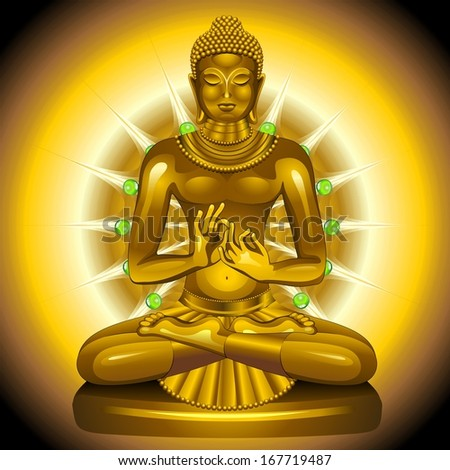 Buddha Gold and Emeralds Statue - stock vector