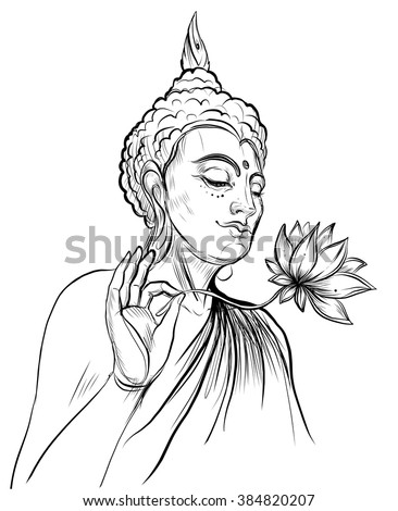 Buddha holding Lotus flower. Vector illustration isolated on white. Sketchy style,hand drawn. Vintage drawing. Indian, Buddhism, Spiritual motifs. Tattoo, yoga, spirituality. - stock vector