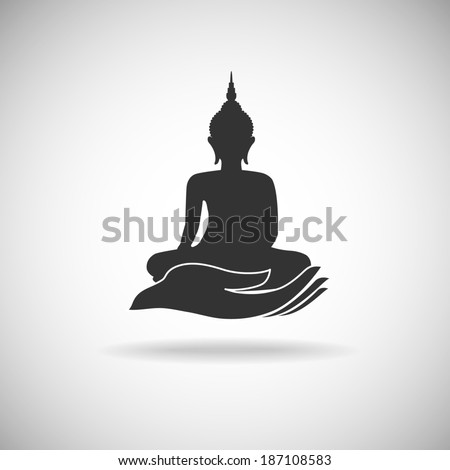 Buddha image on hand silhouette  - stock vector
