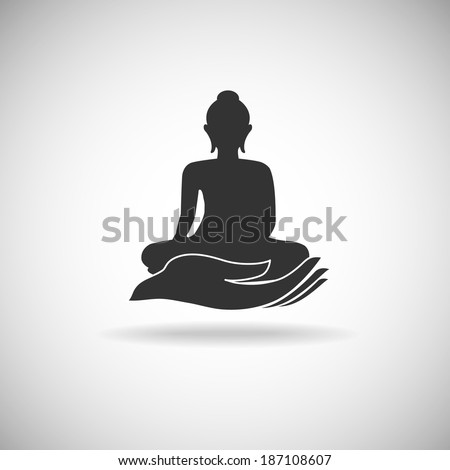 Buddha on hand silhouette  - stock vector