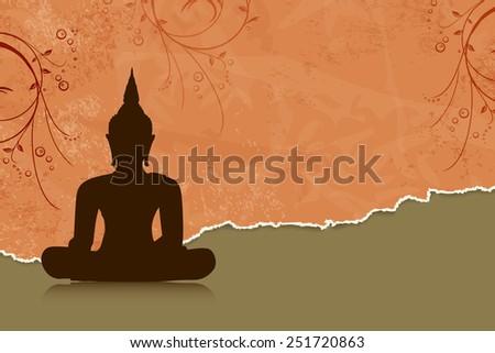 Buddha silhouette against orange flower background - stock vector