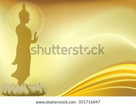Buddha with lotus flower.Buddhism and yoga, health and symbol,vector illustration. gold background and lotus with wave - stock vector