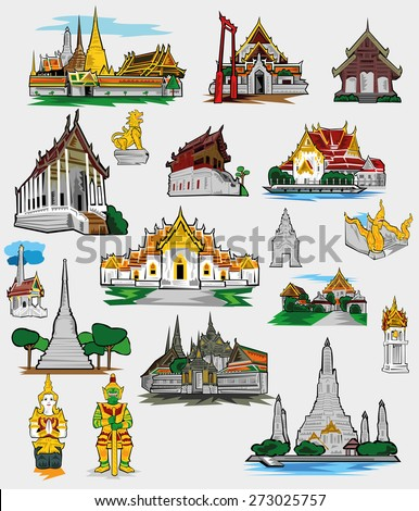 buddhism temple of Thai - stock vector