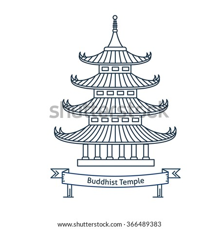 Buddhist temple, monastery. Buddhism symbol. Pagoda house. Flat line vector architecture illustration. Religion stroke icon. Religion building. For poster, flyer, web, banner, header, hero image - stock vector