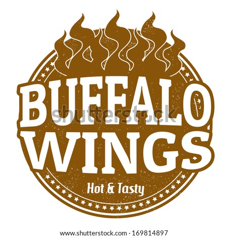 Buffalo Wings grunge rubber stamp on white, vector illustration - stock vector