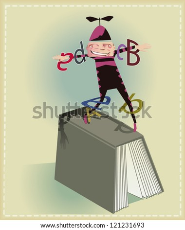 Buffoon making juggling with book�´s words - stock vector
