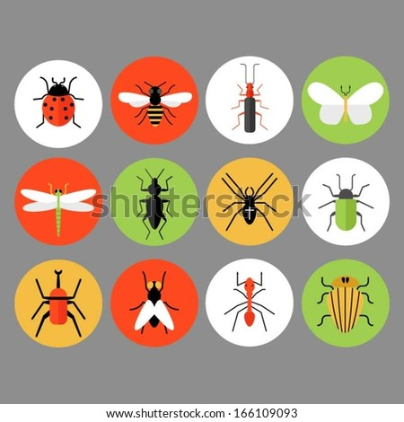 Bug and insect icons - stock vector