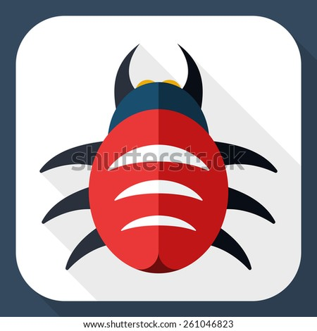 Bug icon with long shadow - stock vector