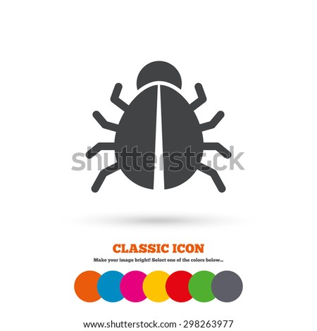 Bug sign icon. Virus symbol. Software bug error. Disinfection. Classic flat icon. Colored circles. Vector - stock vector