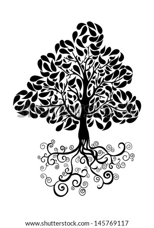 Bug tree icon with curly roots and leaves silhouette. Vector file layered for easy manipulation and custom coloring. - stock vector