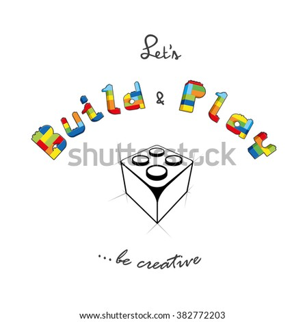 Build and play text created from bricks. - stock vector