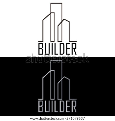 Builder Building Business Logo - stock vector