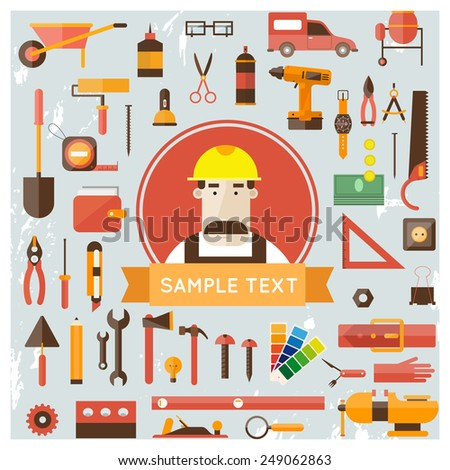 Builder character vector illustration. Building, repair and decoration works. Set of tools icons. Plumber, mechanic, carpenter. - stock vector