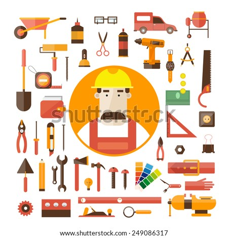Builder character vector illustration. Building, repair and decoration works. Set of Worker tools icons. - stock vector