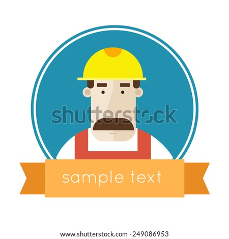Builder character vector illustration. Flat design. Isolated label. - stock vector