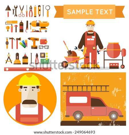 Builder character with working tools vector illustration. Building, repair and decoration works. Set of tools icons. Plumber, mechanic, carpenter. Flat style. - stock vector