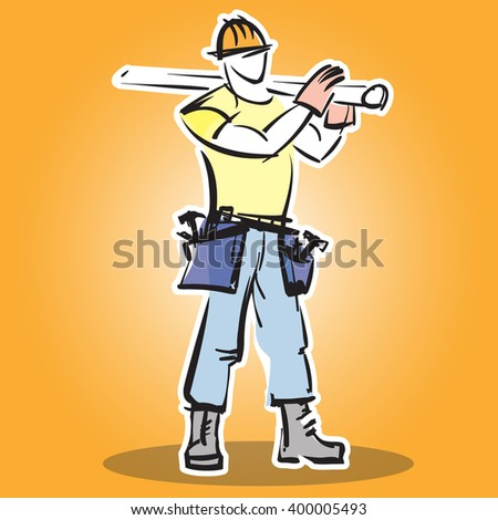 Builder construction worker in protective wear and the helmet does the job.  - stock vector