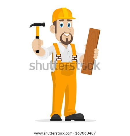 Builder holds hammer and wooden board - stock vector