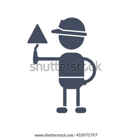 Builder in a safety helmet holding a trowel icon. - stock vector