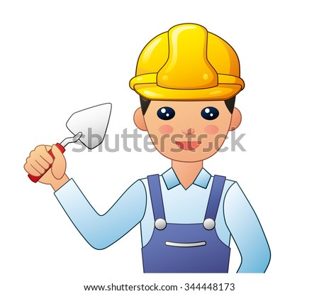 Builder in a yellow safety helmet holding a trowel. - stock vector