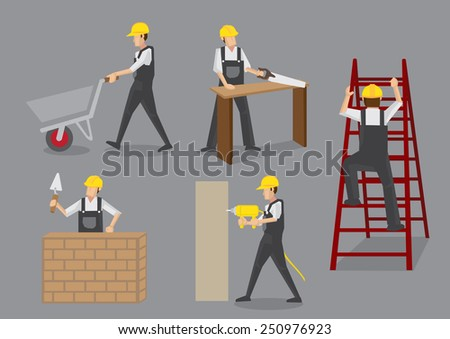 Builder in yellow helmet and overall work clothes working with manual tools and equipment at construction site. Vector cartoon characters isolated on grey background - stock vector