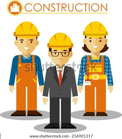 Builder manager, man and woman worker in protective wear and helmets in flat style - stock vector