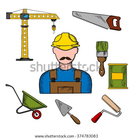 Builder profession and construction tools icons with man in yellow hard helmet and tower crane, hand saw and trowel, paintbrush and paint can, wheelbarrow and paint roller - stock vector