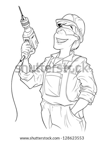 builder with drill vector illustration isolated on white background. Vector Illustration. - stock vector