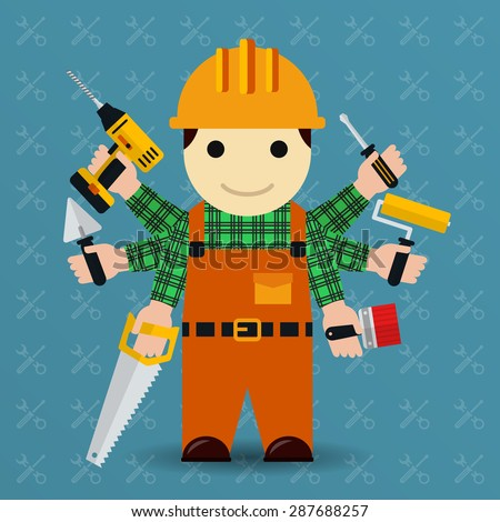 Builder with many arms. Handyman and worker, tools and occupation person, vector illustration - stock vector