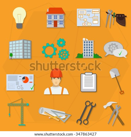 Builder worker construction flat icons.  - stock vector