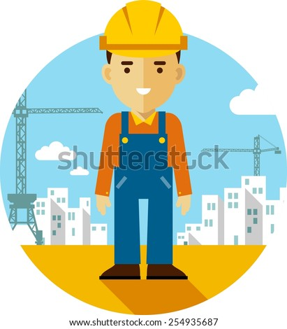 Builder worker on on construction background with buildings and tower cranes - stock vector
