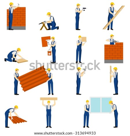 Builders icons set with work people silhouettes isolated vector illustration - stock vector
