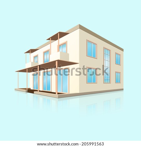 building a small hotel in perspective with reflection on blue background - stock vector