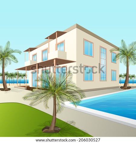 building a small hotel with sea and palm trees in perspective - stock vector