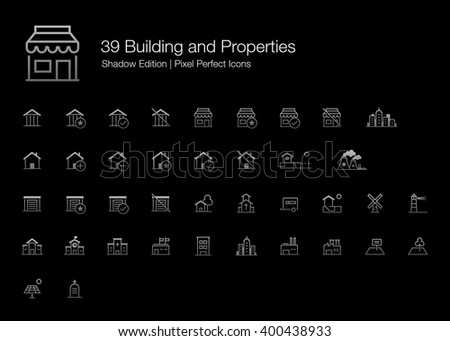 Building and Properties Pixel Perfect Icons (line style) Shadow Edition - stock vector