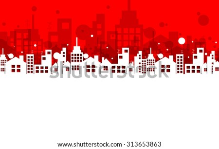 Building and real estate city illustration. Abstract background for business presentation, sale, rent - stock vector