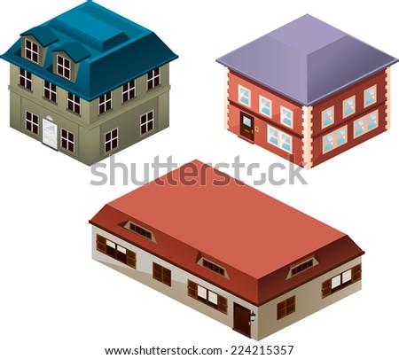 Building apartment house construction condo residence tower penthouse collection vector illustration cartoon. - stock vector