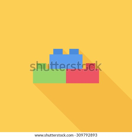 Building block icon. Flat vector related icon with long shadow for web and mobile applications. It can be used as - logo, pictogram, icon, infographic element. Vector Illustration. - stock vector