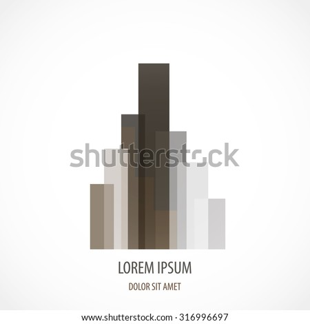 Building company concept logo original grey and brown color art - stock vector