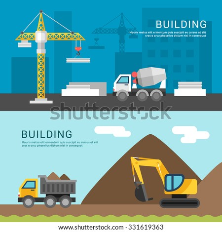 Building Concept. Crane and Cement Mixers. Dump Truck and Excavator. Vector Illustration in Flat Design Style for Web Banners or Promotional Materials - stock vector
