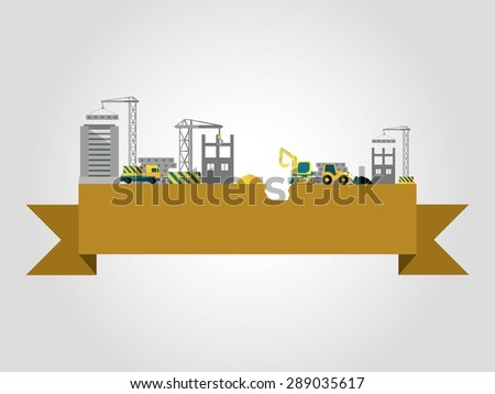 Building concept with flat construction site on ribbon banner vector illustration - stock vector