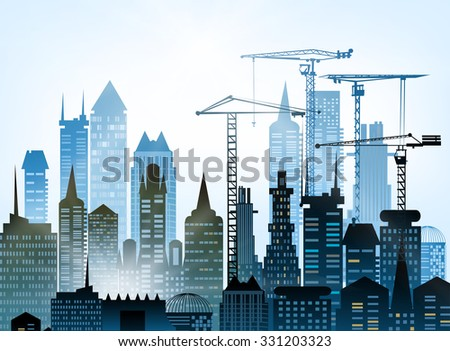 Building construction city in the city.  - stock vector