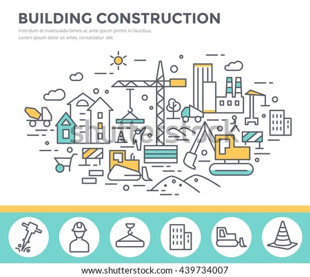 Building construction concept illustration  with workers and machines , thin line flat design vector template - stock vector