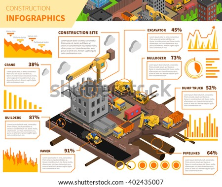 Building construction isometric infographics with data about use of worker force and equipment vector illustration  - stock vector